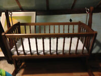 Wooden rocking crib, stand and matress