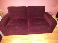 Next, 2 seater bed settee burgundy chenille fabric. In good condition, only used occasionally