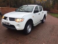 2010 Mitsubishi L200 double cab crew cab pick up truck,white,no vat to pay may px,full service