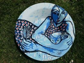 Blue glass display bowl by Ritzenhoff