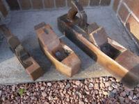 Set of three woodworking block planes