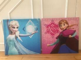 2 x Disney Frozen Canvas Pictures - Elsa & Anna