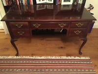 Writing desk - wood, faux antique - American-made featuring many beautiful period touches