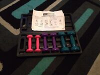 Ladies dumbell set with plastic box 2x 0.5 kg,2x1.0kg,2x1.5kg good clean condition
