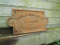Vintage machinery plaque