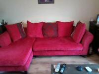 Red fabric L shaped sofa from DFS