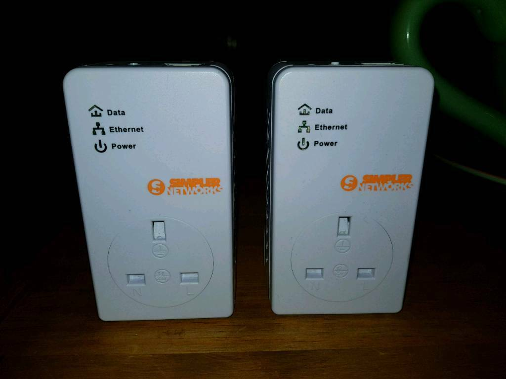Simpler Networks Ethernet Mini Passthrough Powerline Adapter Broadband Modem Homeplug X 2