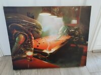 Alien Vs Predator Playing Pool Pub CANVAS PICTURE