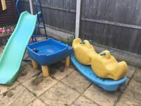 Playhouse, Slide, Water Table and See-Saw