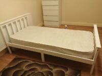 White Single bed w/mattress & Navy blue bed rail