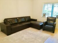 Reduced - Genuine Leather Brown Corner Sofa and Chair