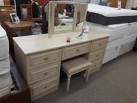 Light Wood Dressing Table with Mirror + Stool