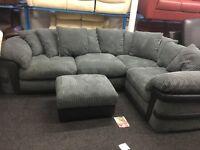New/Ex Display Dfs Grey Cord Corner Sofa + Ottoman Footstool