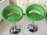 2 Breakfast Bar Stools, bright green.