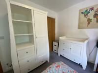 Wardrobe & baby changing unit with storage set. High quality, solid wood bought for £849.00