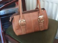 Tan [leather look] handbag - like small holdall with lots of compartments