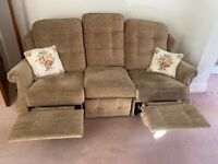 Cloth 3 seater settee with foot rests.