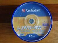 1 pack x Verbatim 4X DVD+Rewritable 25 pack - brand new sealed - £4
