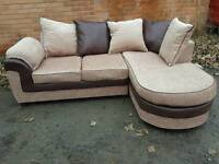 Fabulous BRAND NEW brown and beige fabric corner sofa .still boxed.can deliver