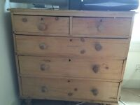 Old and shabby but serviceable 5 drawer chest. Currently supports a small TV and Skybox.