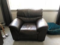 2 seater Sofa and 2 single seat chairs Brown leather, from Hopewells