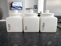 White ceramic Tea, Coffee and Suger Jars Set