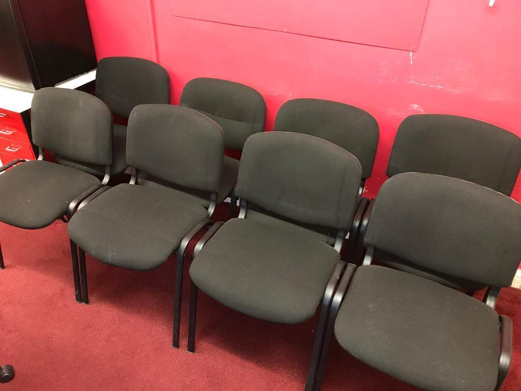 Reception Conference Office Waiting Room Chairs X8 Black
