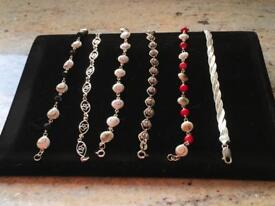 Job lot of sterling silver bracelets with genuine stones some are brand new Hallmarked 925