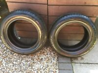 Pair of CAR Tyres 225/55R16 with 6mm of tread