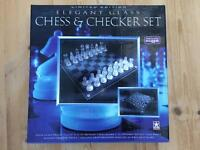 Glass chess and drafts set