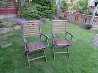 2 Hard Wood Garden Chairs