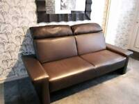 Dark Brown leather Look Sofa Bed and Chair