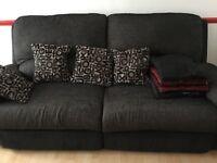 Grey/black recliner sofa
