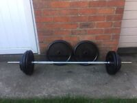 SOLID BARBELL PLUS 105KG OF BODY SCULPTURE CAST IRON WEIGHT PLATES