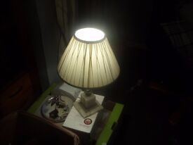 HEAVY ONYX TABLE LAMP AND SHADE