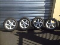 mazda mx 5 alloy wheels with 2 good tyres may fit other cars