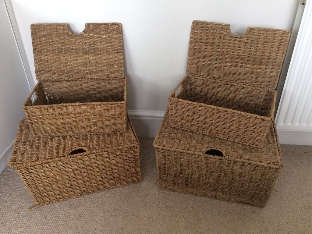 Seagrass storage boxes £15 a pair 2 pairs available