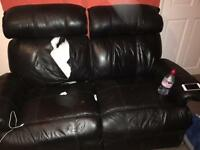 Two seater recliner sofa with two matching chairs