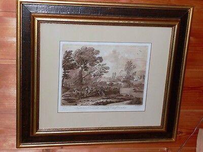 Grafik antik Acqua Tinta Claude  Lorrain Landschaft 55 x 45 cm