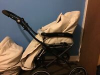 Cream leather baby style pram and pushchair