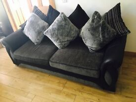 X3 Seater & X2 Seater DFS Sofa with X6 Faux Fur Cushions