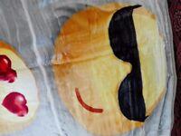 Huggart Mink Faux Fur Throw Blanket Fleece Versatile Huggable Emoji KingSize Bed