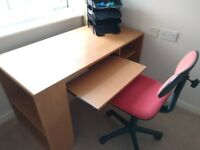 Computer Desk with swivel office chair & stationary trays