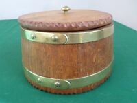 Treen - Round Wooden and Brass Box