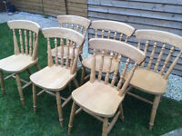 6 fantastic traditional solid wood farmhouse chairs, great condition