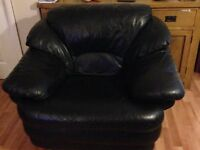 3 Seater Sofa & 2 x 1 Seater chairs black leather