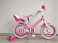 "(2585) 14"" 9"" HELLO KITTY Girls Kids Childs Bike Bicycle +STABILISERS Age: 4-5 Height: 98-112cm Pink"