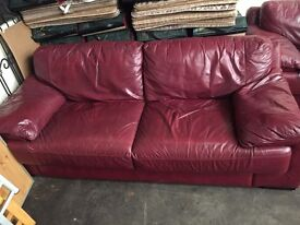 3+1 Red Leather Suite