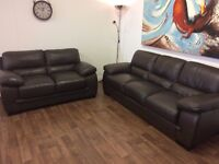 SOFAS**LARGE BROWN LEATHER SUITE**EXCELLENT CONDITION**