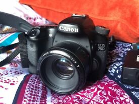 Canon 70d with 50mm lens and accessories